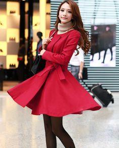 Round neckline warm woolen Coat Dress - black