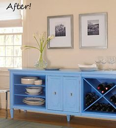 An ugly dresser transformed into an inspired sideboard.  I love that the drawers on bith sides were removed for shelving and wine storage.