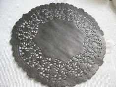 "10"" INCH ROUND BLACK PAPER LACE DOILIES CRAFT❤CANADA 10 PCS GOTH FANCY EDGE #seebelow"
