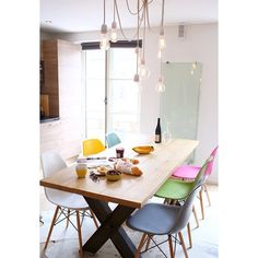 Different coloured dining chairs