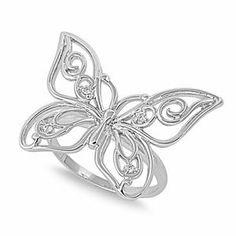 Rhodium Plated Sterling Silver Wedding & Engagement Ring Butterfly CZ Ring 19MM ( Size 5 to 9) Double Accent. $24.99. Promprt Shipping. Comes With Beautiful Jewelry Case. 925 Sterling Silver