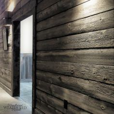 New industrial space benefits from stunning reclaimed wood siding. #homedecor #interiordesign #exteriordesign #design #woodsiding #shiplap #reclaimedwood #DIY #outdoors #love #rustic #modern #homedesign #style #barn #siding #flooring #restaurant #architecture #office #homes #gardens #landscape #renovations #art #wood #home #dreamhome Barn Siding, Wood Siding, Weathered Wood, Rustic Wood, Hardwood Floors, Flooring, Architecture Office, Rustic Modern, Exterior Design