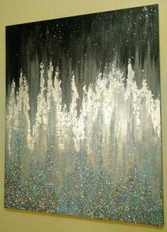 This on the entire wall of the bed Modern Acrylic Abstract Glitter Painting. (With silver leafing and metallic paint) Jessika Rose, December Glitter Kunst, Glitter Canvas, Glitter Girl, Art Mural Rouge, Acrylic Art, Acrylic Paintings, Art Paintings, Acrylic Nails, Coffin Nails