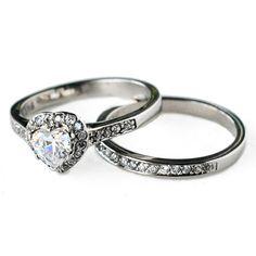 cz ring, cz wedding ring, cz engagement ring, wedding ring set, ring set, cz wedding set heart cubic zirconia size 5 6 7 8 9 10-MC11611T