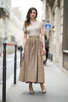 A long skirt feels chic with a tight t-shirt tucked in