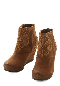 In Your Heart of Hearths Bootie - Mid, Leather, Tan, Solid, Embroidery, Best, Wedge, Rustic, Boho