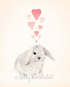 Bunny Rabbit Art Print for Baby Nursery, 8x10 Print for Baby Boy Nursery or Baby Girl Nursery, Rabbit & Love Hearts Watercolor illustration on Etsy, $20.00