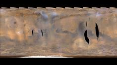 This movie clip shows a global map of Mars with atmospheric changes