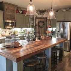 pretty farmhouse kitchen makeover design ideas on a budget 49 - Kitchens - Island Kitchen Ideas Kitchen Redo, Rustic Kitchen, New Kitchen, Kitchen Dining, Kitchen Cabinets, Country Kitchen Ideas Farmhouse Style, Shop Cabinets, Gray Cabinets, Island Kitchen