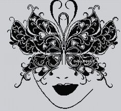 Black Work Cross Stitch | Blackwork Butterfly Mask Cross Stitch Chart | eBay