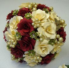 Paper  Flower Wine & Ivory Pearls and Green Jewelry Finds  Wedding Bouquet  Rehearsal bouquet Toss Bouquet  READY TO SHIP