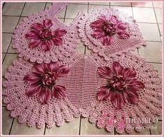 tığ işi pembe çiçekli klozet takımı