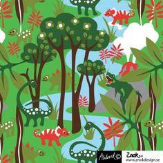 Jurassic of Znok Design Stretchjersey, Organic Cotton Fabric Let you inspire of the Pictures. Design: Johanna Ahlard for Znok Width: 150 cm