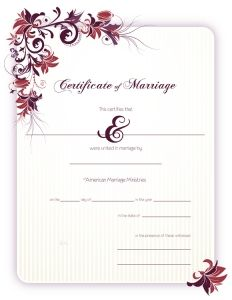 Marriage Certificate   Certificate Template And Wedding