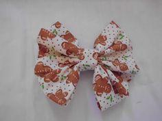 "Fabric Hair Bow w Alligator Clip Brown Xmas Gingerbread Handmade NEW! 2.5""x 3"" #Handmade"