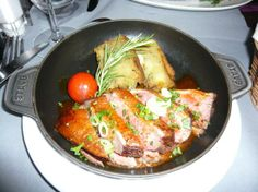 Duck & potatoes prepared in Staub at La P'tite Cocotte in Nice, France.