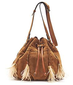 Patricia Nash Spring Boho Suede Collection Picerno Drawstring Crossbody Bag With Feather Tassels Dillards Tassel