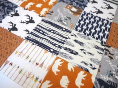 Baby Quilt-Rustic Baby Boy Bedding-Navy Blue-Orange_Gray-Modern Woodland Crib Blanket-Aztec-Arrows-Forest Animals-Buck-Bear-Feathers  This quilt