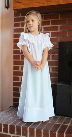 Cookie B- 'Sweet Dreams' Nightgown, Pattern by Lezette Thomason - Farmhouse Fabrics Online Shop Christmas Nightgowns, Nightgown Pattern, Kids Nightwear, Night Dress For Women, Little Girl Dresses, Night Gown, Dress Patterns, Baby Dress, Kids Outfits