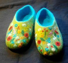 Felted slippers.. ALPINE MEADOW.