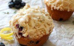 Bakery-Style Thyme Blueberry Muffins with a Mascarpone Glaze