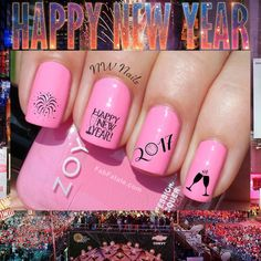 Happy New Years Eve 2017 Holiday Party Nail Art Waterslide Decals #Handmade