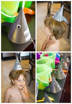 DIY shark party hats for the boys at the mermaid party or a #sharkweek celebration!