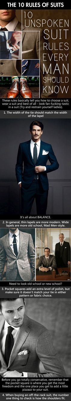 Style Tips:  Are you thinking of buying a Suit?  Wait!  Read this before heading out shopping.  10 unspoken suit rules every man should know.  === Follow us on Pinterest for Style Tips, Men's Essentials, updates on our SALES etc... ~ VujuWear