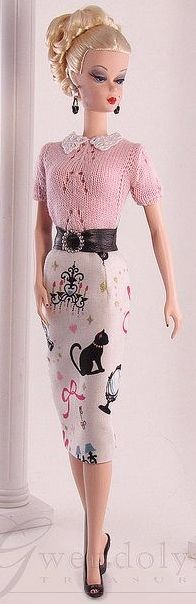 Barbie Looking Very Classy! Gorgeous Knit Sweater with Pencil Skirt