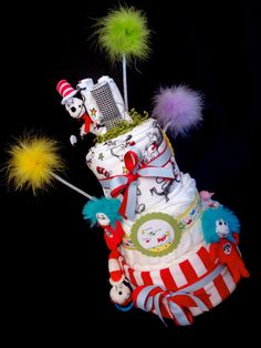 Dr. Seuss Diaper Cake, Baby Shower, Centerpiece, Decoration, 1st birthday, mom-to-be, Cat in the Hat, Thing 1 2 on Etsy, $129.95