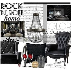 Rock n Roll by maddycruise on Polyvore featuring interior, interiors, interior design, casa, home decor, interior decorating, Universal Lighting and Decor, Moooi, Currey & Company and Ralph Lauren Home