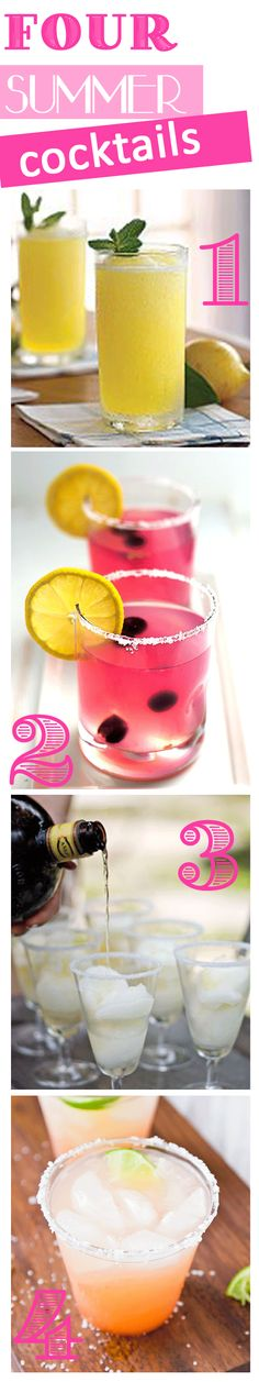 4 Summer Cocktails + Recipes :: Frozen Vodka Slush, Spiked Blueberry Lemonade, Lime Sorbet Margarita, The Guavarita