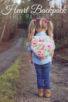 Use this heart backpack free pattern to sew an adorable heart shaped backpack for toddlers! It's the perfect for all of your little one's treasures! #Freesewingpatterns