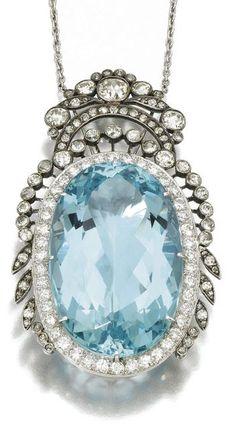 "chasingrainbowsforever: "" Vintage Aquamarine and Diamond Pendant """