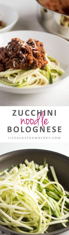 Zucchini Noodle Bolognese - Lighten up a classic pasta recipe with this easy zoodle bolognese! Low-carb, healthy recipe with vegetable noodles and a vegetable-based, rich red wine pasta sauce. Perfect for busy weeknight meals.