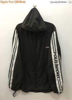 7f6b3ba7f9e34 90 s Polo Sport Ralph Lauren Windbreaker Black Polo Hoodie Polo Jacket LL  fit XL  J152