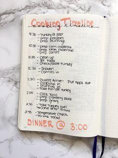 OMG! Plan Thanksgiving Dinner in the Bullet Journal! Thanksgiving dinner bullet journal spread