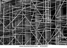 Interesting Abstract Scaffolding Around Building Under Stock Photo ...