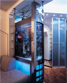 If you want to separate the kitchen and dining area, living room and entryway or divide your large room interior into smaller spaces, aquariums are attractive contemporary room dividers that offer a unique way to create privacy and add beauty to your home