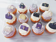 Mini purse cupcake toppers by Catisserie, Toronto. YSL Clutch, Celine Trapeze, Chanel Quilted Classic Handbag, Givenchy Antigona, Prada Saffiano