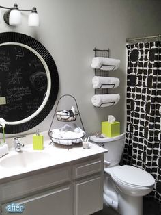 Better After: Black, white and green bathroom. I also like the chalk board wall in the background.