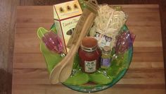 Italian Dinner & Dessert Gift Basket  phase #2 add contents into Glass Bowl