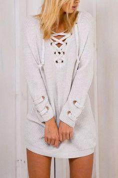 White Lace-up Knit Long Raglan Sleeves Sweater -YOINS