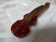 Bakelite Root Beer Violin Fiddle Brooch Pin from glorybee on Ruby Lane