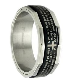 Men's Black Stainless Steel Christian Spinner Ring with Lord's Prayer Mens Stainless Steel Rings, Black Stainless Steel, Fashion Jewellery Online, Fashion Rings, Romantic Gifts For Men, Mens Rings Online, Best Gift For Husband, Celtic Wedding Rings, Wedding Bands