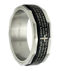 Men's Black Stainless Steel Christian Spinner Ring with Lord's Prayer   8mm - JSS0197