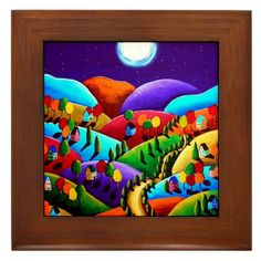 Peace on Earth 2 Landscape Moon Colorful Whimsical Folk Art Framed Ceramic Tile reniebritenbacher