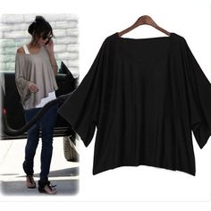 Fashion Ladies Round Collar Loose Dolman Batwing Sleeve Women T-shirt