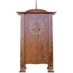 Rare CFA Voysey Original Arts and Crafts Nouveau Architectural Oak Clock 1