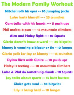 Modern Family workout plan.. i am definitely going to do this tonight!